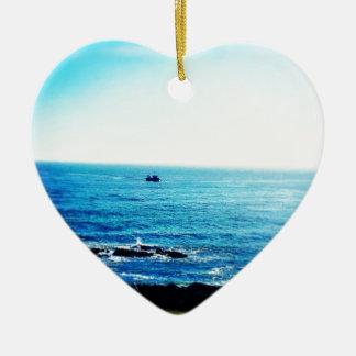 Little Boat Ceramic Heart Decoration