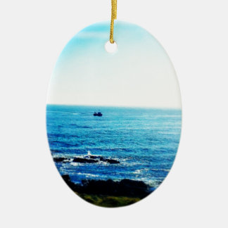 Little Boat Ceramic Oval Decoration