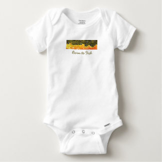 "Little ""Born to Fish"" Brook Trout Fly Fisherman Baby Onesie"