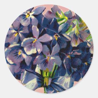 Little Bouquet of Violets Round Sticker