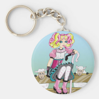 Little Bow Peep Basic Round Button Key Ring