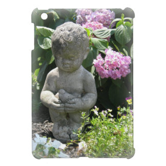 Little Boy and Bird Garden Statue Case For The iPad Mini