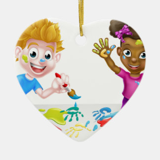 Little Boy and Girl Painting Ceramic Heart Decoration