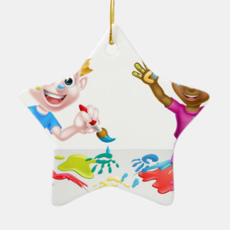 Little Boy and Girl Painting Ceramic Star Decoration