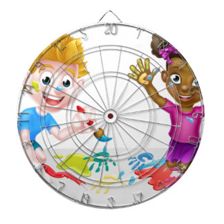 Little Boy and Girl Painting Dartboards