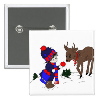 Little Boy and Reindeer 15 Cm Square Badge