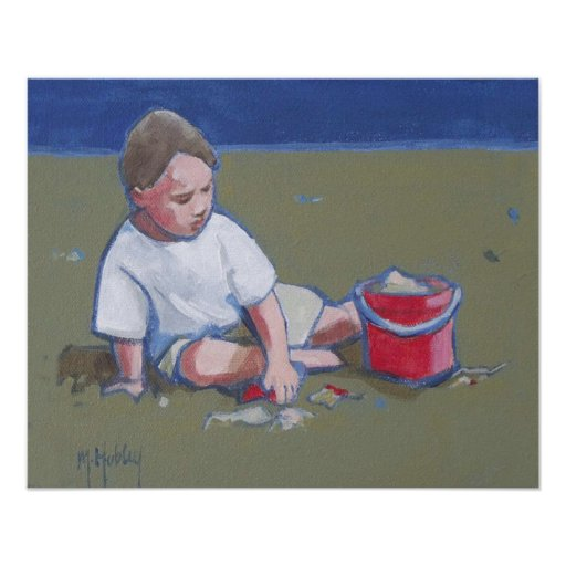 LIttle Boy and Sandcastle on Beach Poster