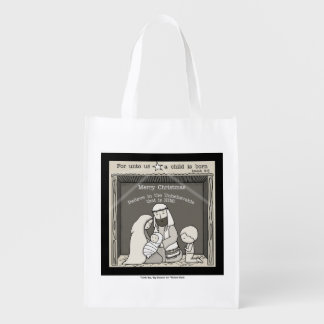 Little Boy at the Manger-Merry Christmas Reusable Grocery Bag