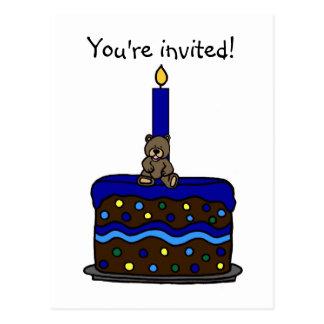 little boy birthday party invitation postcard