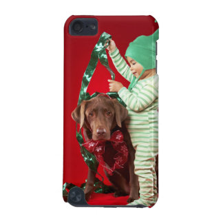Little boy decorating a dog iPod touch 5G cases