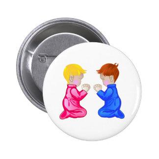 Little Boy & Girl Praying 6 Cm Round Badge