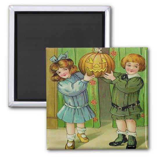 Little Boy & Girl With Jack O' Lantern Square Magnet