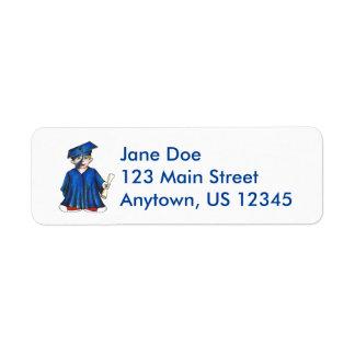Little Boy Graduate Blue Cap Gown Graduation Label Return Address Label