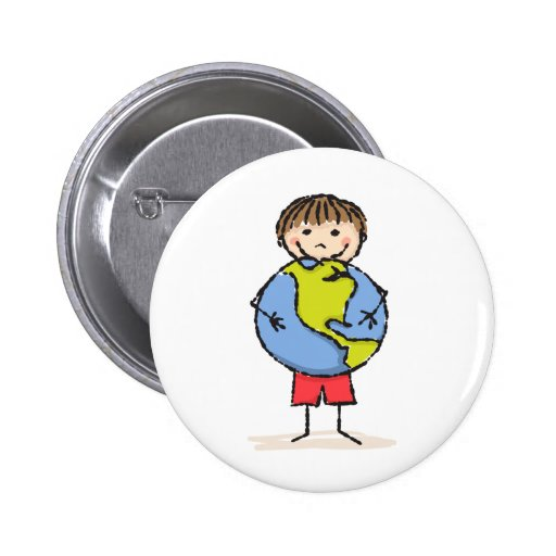 Little boy holding planet earth cute kids button