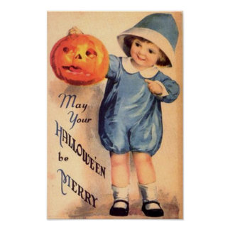 Little Boy Holding Pumpkin - May Your Halloween Be Print