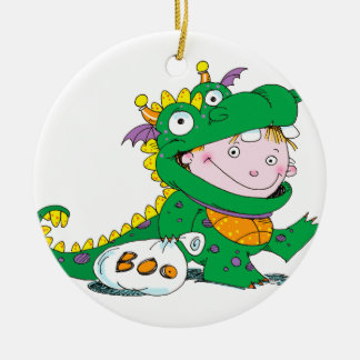 Little Boy in Dragon Costume for Halloween Christmas Ornament