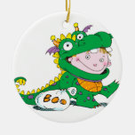 Little Boy in Dragon Costume for Halloween Ornament