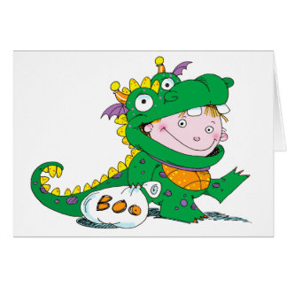 Little Boy in Dragon Costume for Halloween Greeting Card