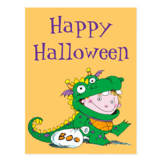 Little Boy in Dragon Costume for Halloween Postcard