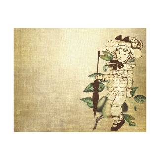 Little Boy in Vintage Garb with Pears Stretched Canvas Print