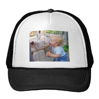 Little Boy Kissing Pig Trucker Hat