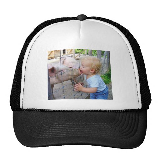 Little Boy Kissing Pig Hats