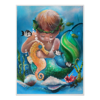 Little Boy Merm and his sea horse Poster