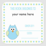 Little boy owl Bookplate label for baby showers Square Stickers