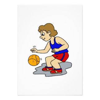 Little boy playing basketball custom invitation