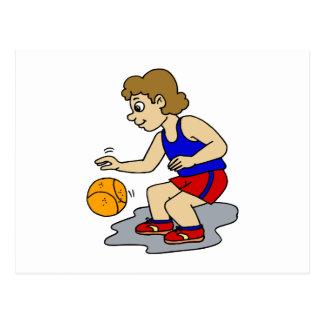 Little boy playing basketball postcards
