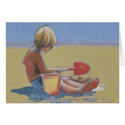 Little boy playing in the sand with a shovel greeting card