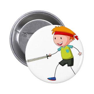 Little boy playing swordfight 6 cm round badge