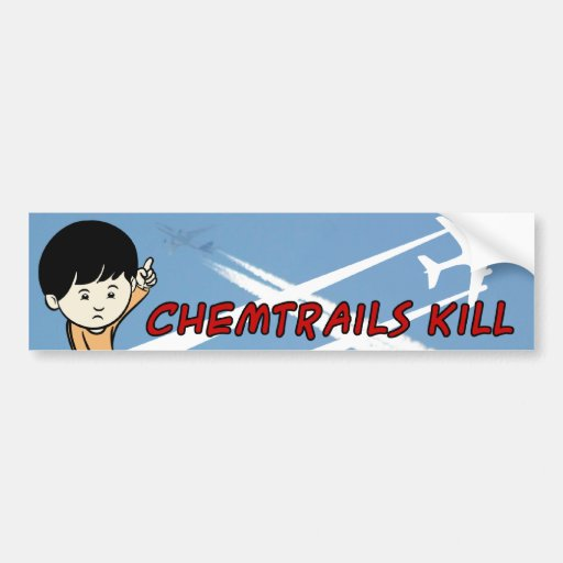Little Boy pointing up Chemtrails Kill Bumper Stickers
