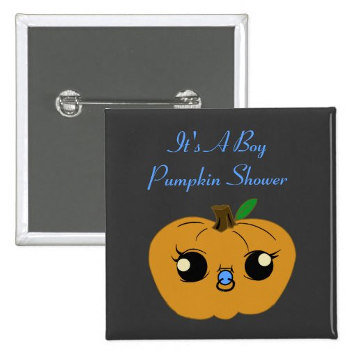 Little Boy Pumpkin Baby Shower Pin Buttons
