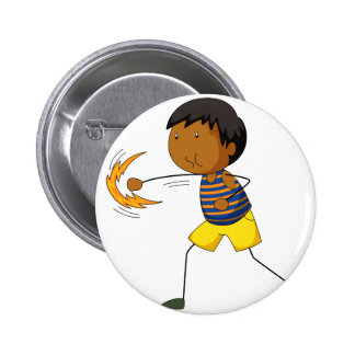 Little boy punching air 6 cm round badge