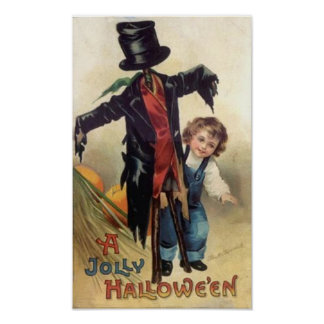 Little Boy & Scarecrow Vintage Halloween Poster