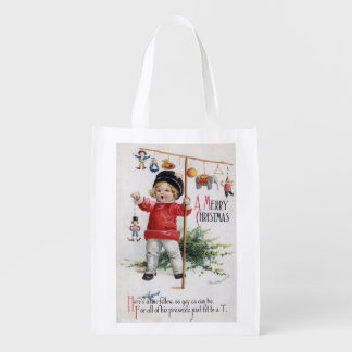 Little Boy Showing His Gifts Reusable Grocery Bag