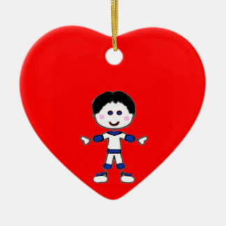 Little Boy Stick Family Collection Ceramic Heart Decoration