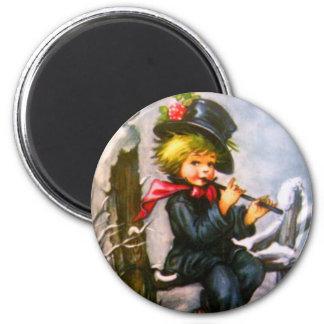 Little Boy with Flute 6 Cm Round Magnet