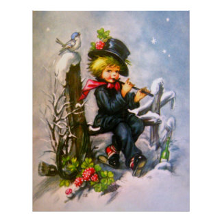Little Boy with Flute Poster