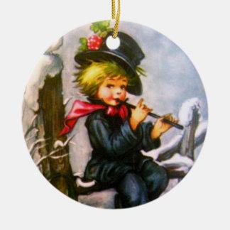 Little Boy with Flute Round Ceramic Decoration