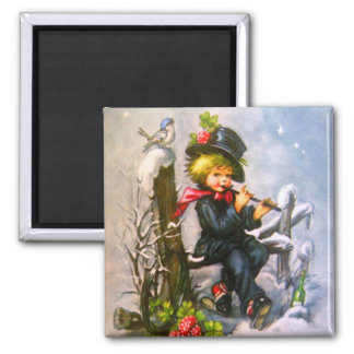 Little Boy with Flute Square Magnet
