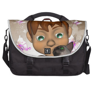 Little boy with his cat bags for laptop