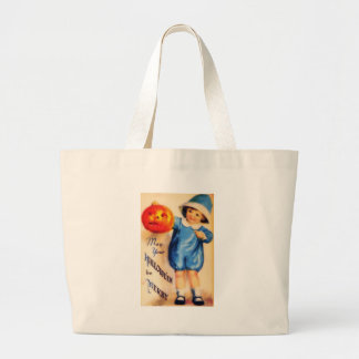 Little Boy With Pumpkin Jumbo Tote Bag