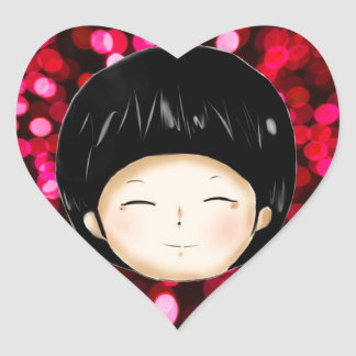 Little boy with space background heart sticker