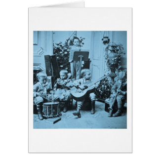 Little Boys Orchestra Vintage Stereoview Cyanotype Card