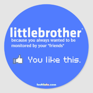 little brother classic round sticker