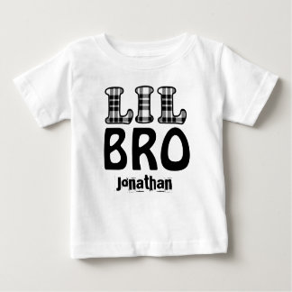 LITTLE BROTHER Plaid Letters Custom Name V02 Baby T-Shirt