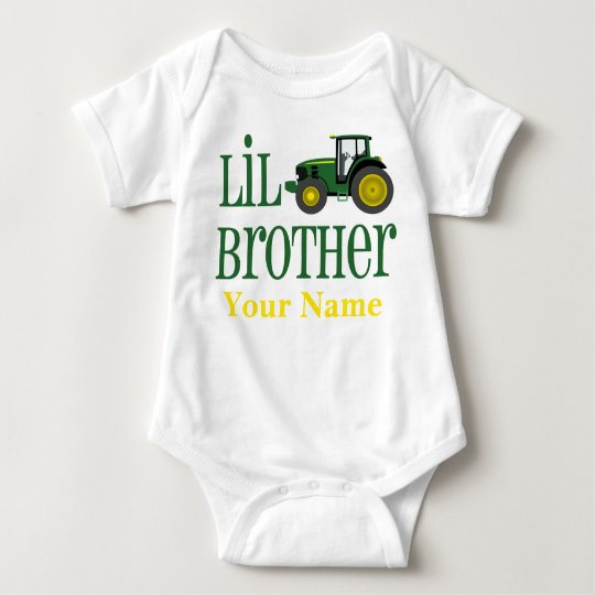 Little Brother Tractor Personalised Baby Bodysuit