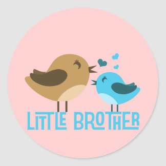 Little Brother with Birdies Classic Round Sticker